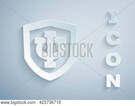 Paper Cut Psychology Icon Isolated On Grey Background. Psi Symbol. Mental Health Concept, Psychoanal