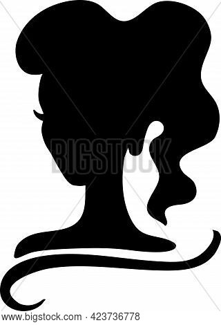 Black Beauty Girl Silhouette With Ponytail Hairstyle Isolated On White Background.