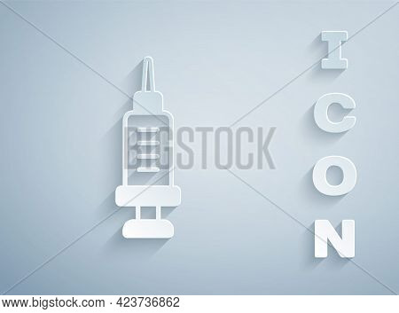 Paper Cut Addiction To The Drug Icon Isolated On Grey Background. Heroin, Narcotic, Addiction, Illeg