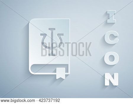 Paper Cut Psychology Book Icon Isolated On Grey Background. Psi Symbol. Mental Health Concept, Psych