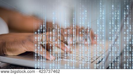 Binary coding data processing against mid section of person using laptop. global business and cyber security technology concept