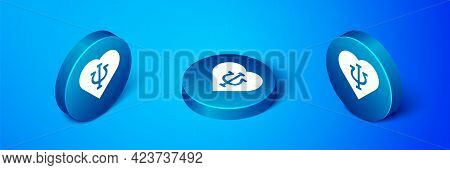 Isometric Psychology Icon Isolated On Blue Background. Psi Symbol. Mental Health Concept, Psychoanal
