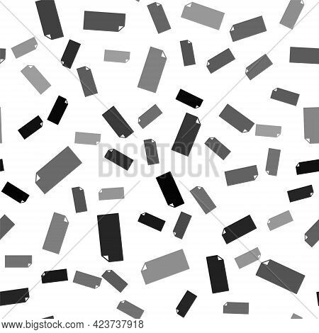 Black Grip Tape On A Skateboard Icon Isolated Seamless Pattern On White Background. Vector