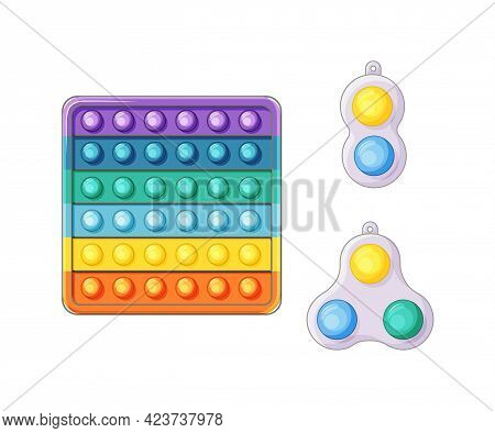 A Set Of Anti-stress Toys Fidget Sensory Pop It And A Simple Dimple On A White Background. Bright Ed
