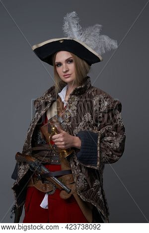 Woman Corsair Captain With Hat And Handgun