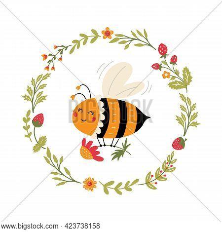 Flying Bee In Floral Wreath Cute Cartoon Bumblebee