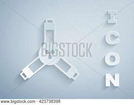 Paper Cut Skateboard Y-tool Icon Isolated On Grey Background. Paper Art Style. Vector