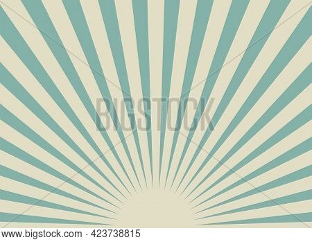 Sunlight Wide Retro Faded Background. Blue And Beige Color Burst Wallpaper. Fantasy Vector Illustrat