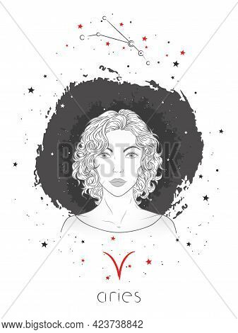 Aries Zodiac Sign And Constellation. Vector Illustration With A Beautiful Horoscope Symbol Girl On G