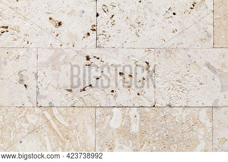 Stone Wall Made Of Shelly Limestone, A Highly Fossiliferous Limestone, Composed Of A Number Of Fossi
