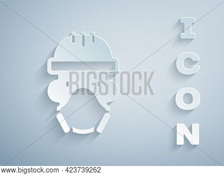 Paper Cut Nuclear Power Plant Worker Wearing Protective Clothing Icon Isolated On Grey Background. N