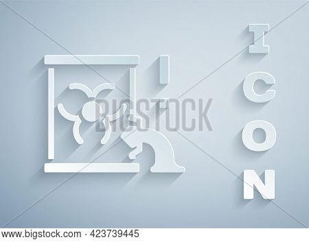 Paper Cut Radioactive Waste In Barrel Icon Isolated On Grey Background. Barrel With Radioactive And