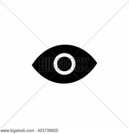 Linear Icon Of Eye With Pupil. Solid Black Optic Illustration. Password Visibility Or Viewed Message