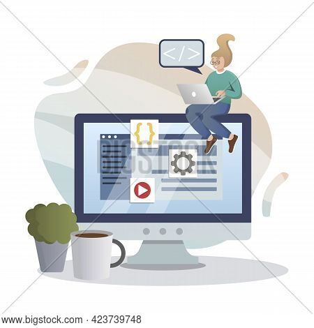 Web Development. Isolated Flat Style Colored Illustration. Cloud Storage, Online Base, Marketing Sol