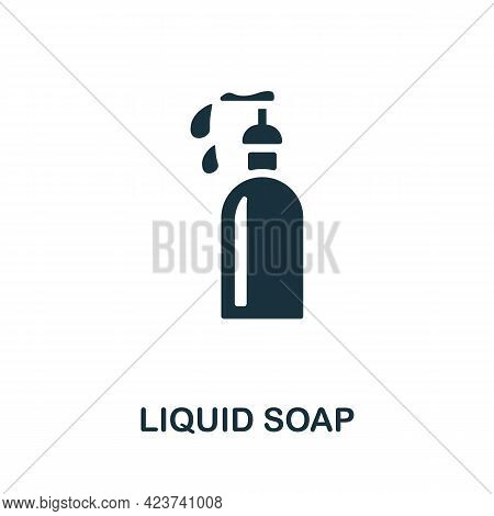 Liquid Soap Icon. Monochrome Simple Element From Housekeeping Collection. Creative Liquid Soap Icon