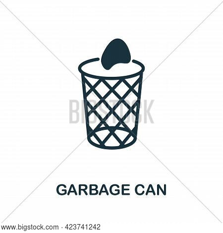 Garbage Can Icon. Monochrome Simple Element From Housekeeping Collection. Creative Garbage Can Icon
