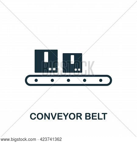 Conveyor Belt Icon. Monochrome Simple Element From Manufacturing Collection. Creative Conveyor Belt