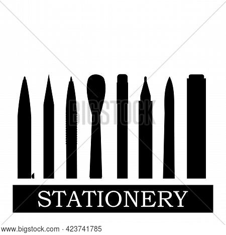 Stationery Silhouette. Logo. Background For Advertising A Store, Company. Illustration. Isolated On