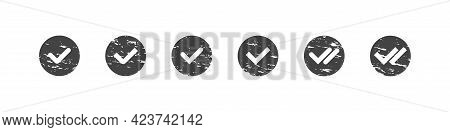 Checkmark Tick In Circle Grunge Collection, Check Approval And Read Message Tick Round Set In Sipmpl