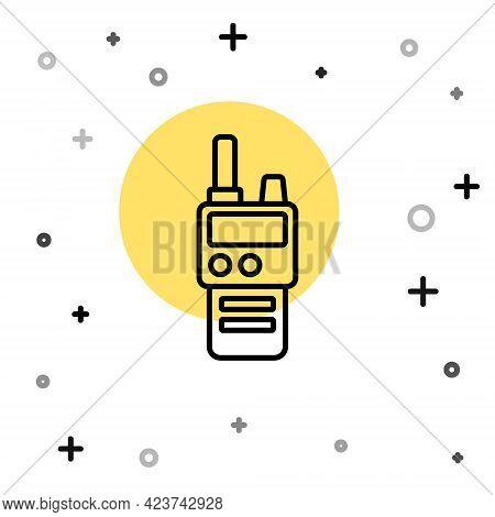 Black Line Walkie Talkie Icon Isolated On White Background. Portable Radio Transmitter Icon. Radio T