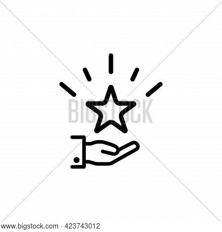 Palm With A Shining Star Above The Hand Icon. Gifts Or Bonuses For A Regular Customer. Loyalty Progr