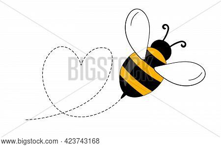 Cartoon Bee Mascot. A Small Bees Flying On A Dotted Route. Wasp Collection. Vector Characters. Inces