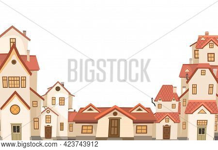 Cartoon Houses With Red Roofs. Village Or Town. Frame. A Beautiful, Cozy Country House In A Traditio