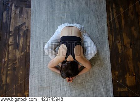 Top View Young Sporty Woman Hatha Yoga Instructor Keep Fit Do Gymnastics Practice Training Bound Ang
