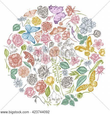 Round Floral Design With Pastel Shepherds Purse, Heather, Iris Japonica, Sakura, Gypsophila, Chamomi
