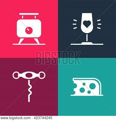 Set Pop Art Cheese, Wine Corkscrew, Glass And Fermentation Of Grapes Icon. Vector