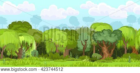 Forest. Seamless Landscape. Cartoon Flat Style. Grass And Dense Bushes. In Summer. Noon, Midday. Dar