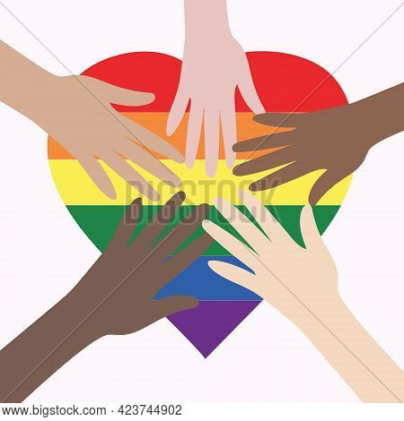 Vector Illustration Of The Lgbt Community. Hands Of Different Colors On A Rainbow Heart. Lgbtq Symbo