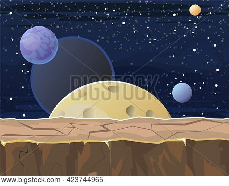 Cosmos Background. Seamless Platform. Starry Sky Landscape. Planets And Their Satellites. A Bright C
