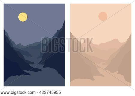 Set Of Aesthetic Day And Night Landscape Of Mountains, Moon And Sun. Wall Decor. Minimalist Art Prin