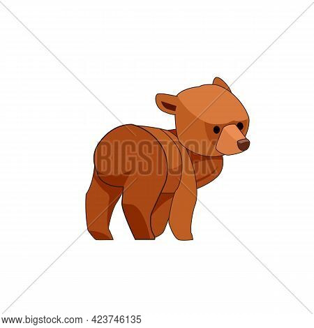 The Bear Cub Walks And Looks Around In Surprise. Rear View. Cartoon Character Of A Baby Mammal Anima