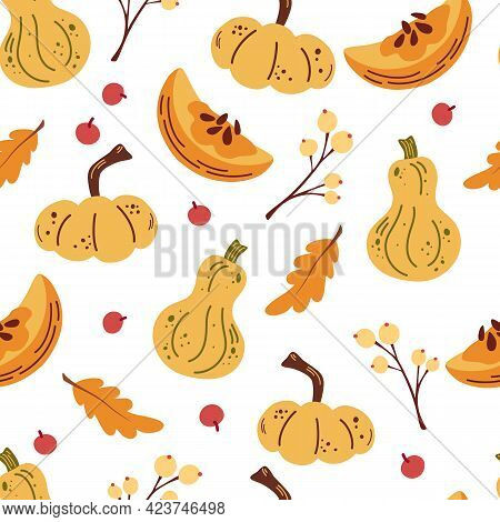 Seamless Pattern With Pumpkins And Autumn Leaves, Berries. Accessories Textile, Wrapping Paper, Wall