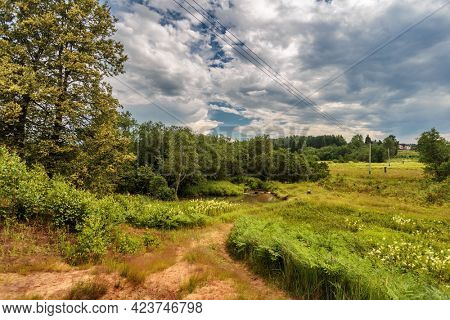Idyllic footpath through fields and forest, nature background.