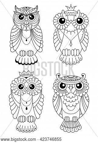 Set Of Magic Stylized Zentangle Owl, Doodle Illustration For Coloring. Decorative Wild Bird. Black O