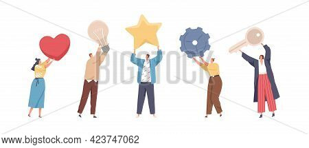 Set Of Tiny People Holding Big Heart, Light Bulb, Star, Gear And Key. Men And Women Standing With Di