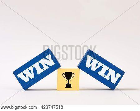 Wooden Blocks Written Win Win Isolated On White Background.