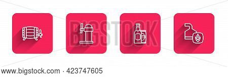 Set Line Wooden Barrel, Dispenser Beer, Beer Bottle And Can And Brewing Process With Long Shadow. Re
