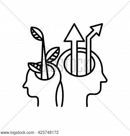 Two Open Human Heads In Profile Icon. Creative Mind. A Tree And Arrow From The Head. Business Growth