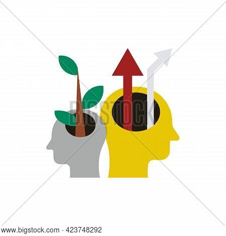 Two Open Human Heads In Profile Color Icon. Creative Mind. A Tree And Arrow From The Head. Business