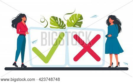 People At The Button Of A Tick And Cross Sign. Vote, Election Choice, Checkmarks, Vector Illustratio
