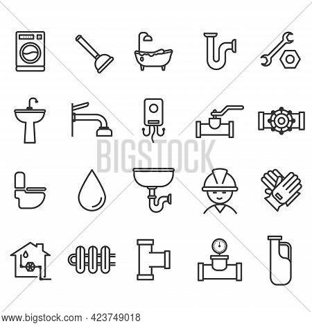 Set Of Plumbing Equipment Icon. Plumbing Systems Bathroom Sanitary Ware. Toilet Thin Outline Vector