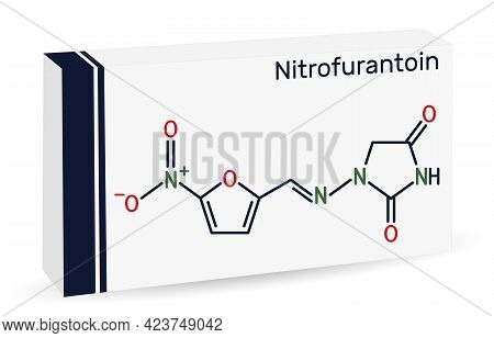 Nitrofurantoin Molecule. It Is Nitrofuran Antibiotic Used To Treat Urinary Tract Infections. Paper P