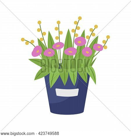 Pink Flowers Arrangement Semi Flat Color Vector Object. Mothers Day Gift. Bouquet With Asters And Da