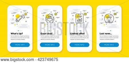 Vector Set Of Report Document, Stay Home And Medical Syringe Line Icons Set. Ui Phone App Screens Wi
