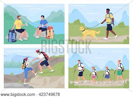 Trekkers In Countryside Flat Color Vector Illustration Set. Family Exploring Scenic Trails. Differen