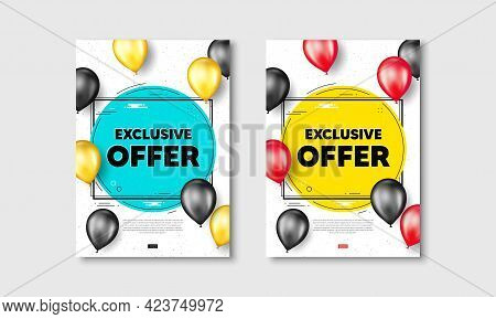 Exclusive Offer Text. Flyer Posters With Realistic Balloons Cover. Sale Price Sign. Advertising Disc